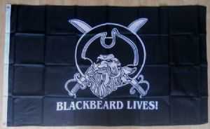 Pirate Blackbeard Lives Large Flag - 5' x 3'.